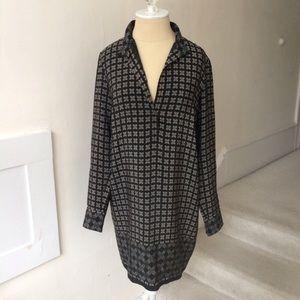 Vince Silk Collar Long Sleeve Dress NWOT